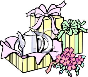 Cartoon image of wedding gifts partially opened