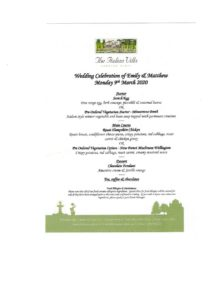 wedding breakfast menu at the Italian Villa for Emily & Matthew. Traditional photo booth hire at the Italian Villa